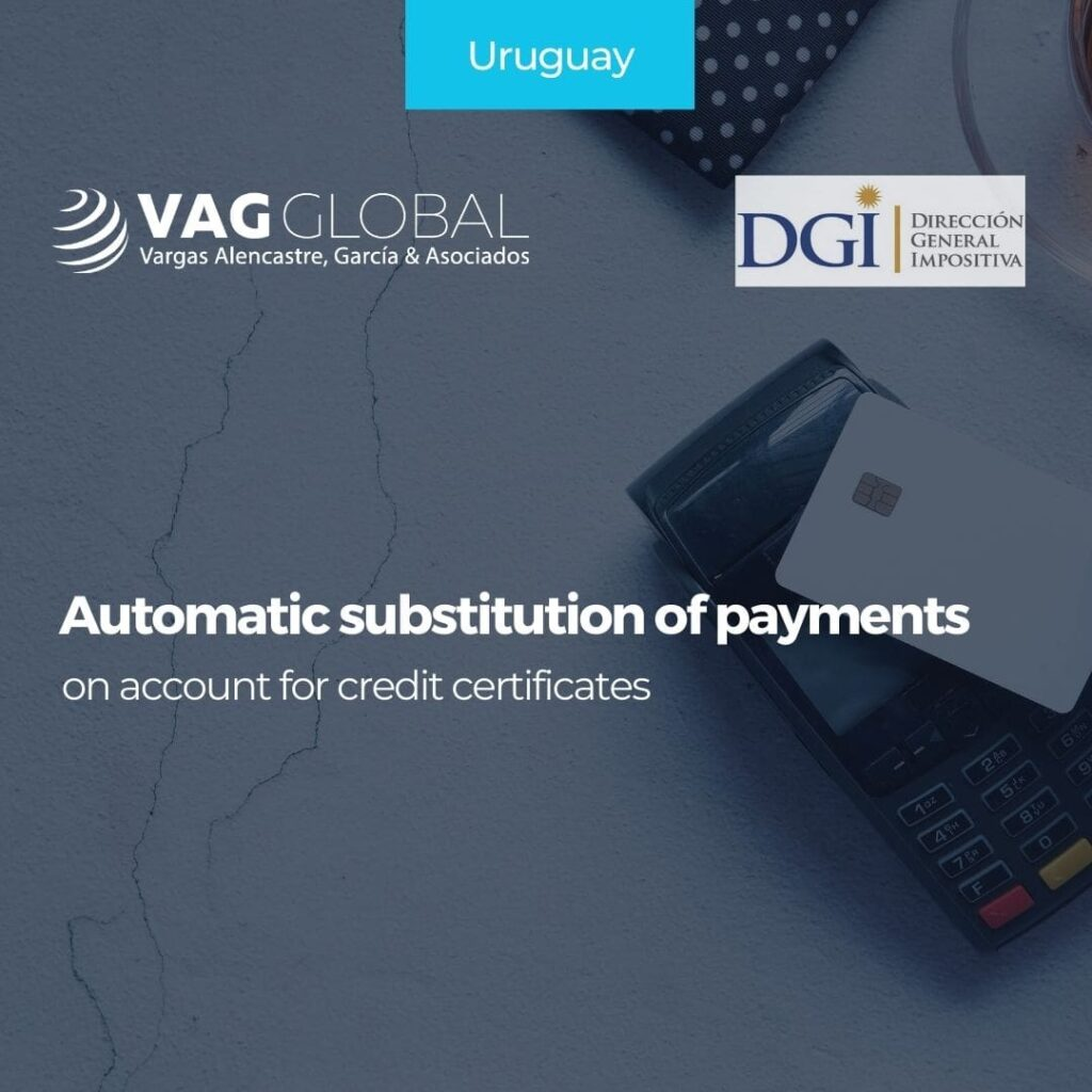 Automatic substitution of payments on account for credit certificates